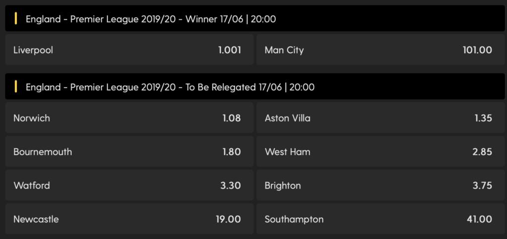 Odds på vinderen af Premier League